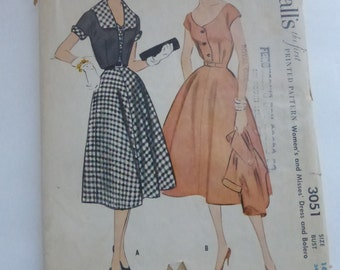 Vintage McCall's Pattern 3051 Dress and Bolero Misses Size 16