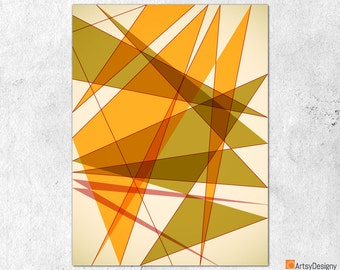 Mid Century Modern Art - Triangles 1 - Abstract Contemporary Giclée Gallery Quality Art Print - Small Medium Large Home Decor Art Prints