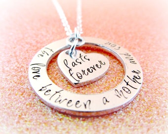 The Love Between a Mother and Son Lasts Forever Necklace - Mother Son Jewelry - Gift to Mom from Son - Mom Heart Necklace - Hand Stamped