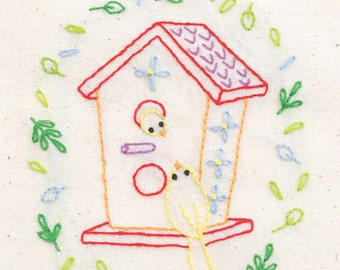 SALE--TWEET HOUSE embroidery transfer by Penguin & Fish--instructions included