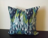 Decorative Throw Pillow, Blue Ikat Pillow Cover, 18x18, 20x20, Toss Pillow, Sofa Pillow, Throw Pillow, Accent Pillow