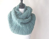 seafoam green infinity scarf, green loop scarf, green accessories, knitted infinity scarf Winter accessories, uk infinity scarves,