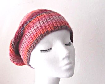 Knitted slouchy hat, multicoloured slouchie hat, Winter hat, teen hat, Winter accessories, uk hats, ladies hat, rasta hat