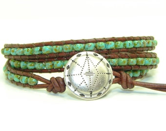 Turquoise Green Beaded Leather Wrap Bracelet, Triple Wrap Bracelet, Tribal Bracelet, Green Picasso Seed Bead Wrap