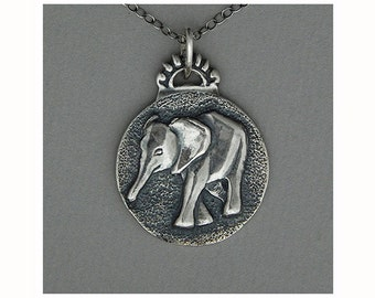 Baby Elephant Pendant in Sterling Silver