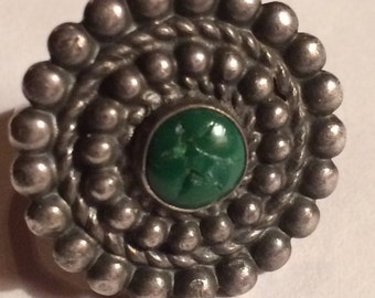 Vintage Fred Harvey Coin Silver or Better Turquoise Ring