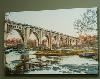 Canvas of James River Railway Bridge in the Fall Richmond Va , Virginia Landscape Photo Art, Framed Photography Option