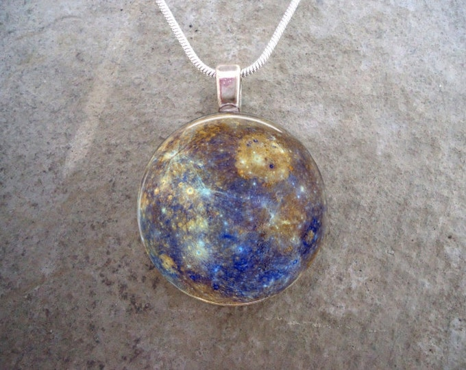 Planet Mercury Necklace - Glass Pendant - Astronomy Jewelry