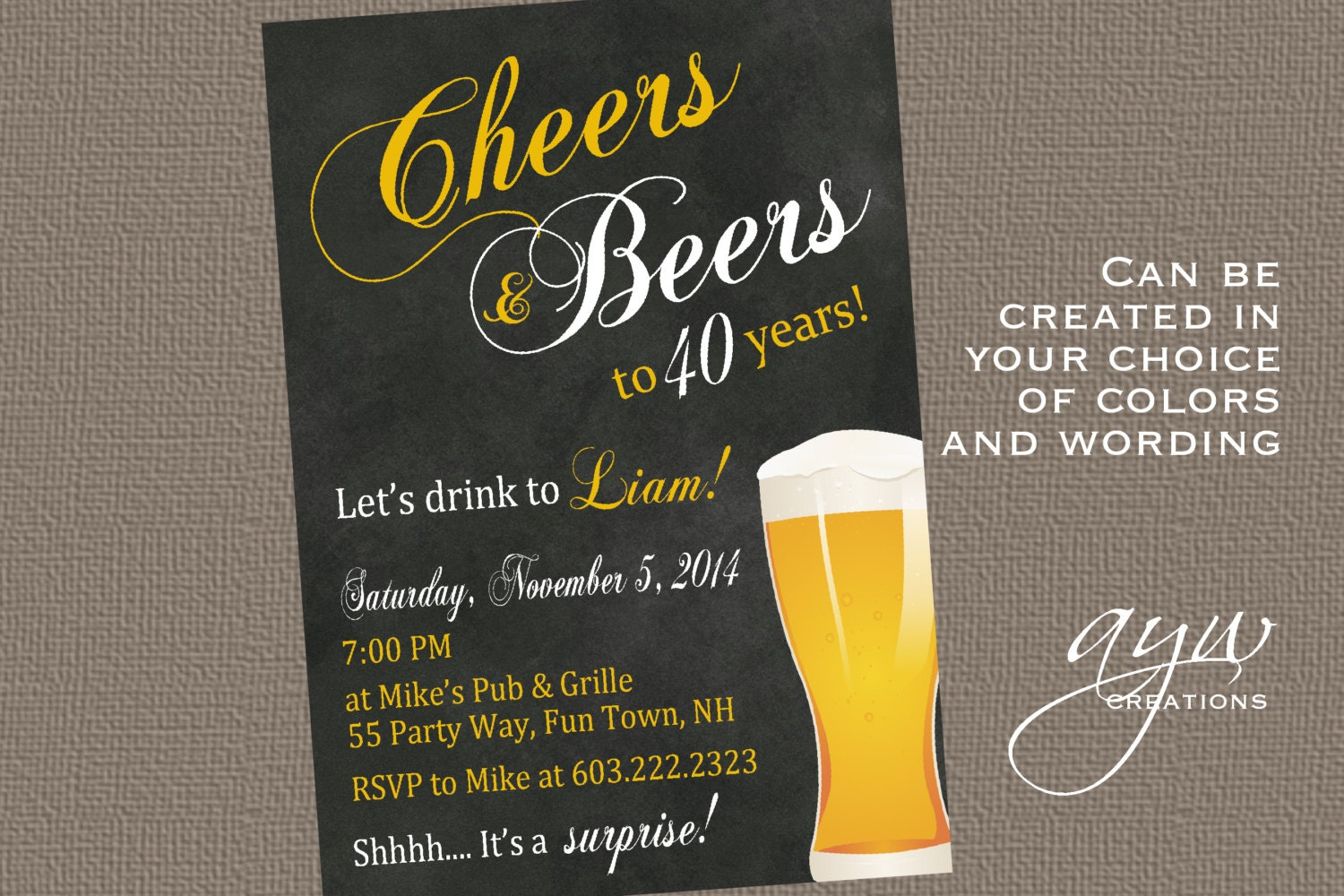 40th Birthday Invitation Man Cheers and Beers Birthday Party