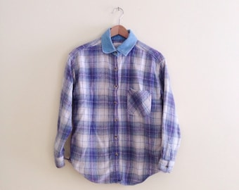 Vintage Lavender & Ivory Plaid Denim Collar Shirt // 90s Grunge Blouse //