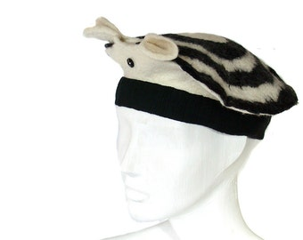 Animal Hat - Op Art meets Hello Kitty Hat with Ears - Kawaii Beret Hand Felted Black and White Hat - Japanese Inspired Whimsy Adorable