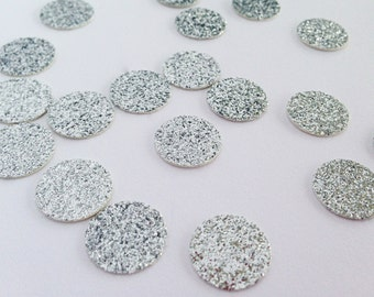 """100 Silver Glitter Circle Confetti - 1/2"""" - Wedding. Bachelorette Party. Birthday Party. Bridal Shower. First Birthday. Engagement Party."""