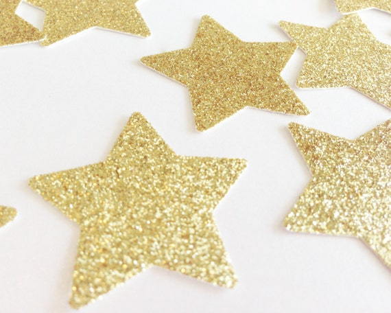 "Gold Glitter Star Confetti - 1 3/8"" - Wedding Table Confetti. Bridal Shower. Bachelorette Party. DIY Supplies. Twinkle Twinkle Little Star."