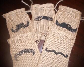 """SET OF TEN Burlap """"Mustache"""" Gift Favor Bags"""