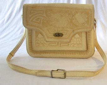 1950's Purse MEXICO Aztec Calendar  Shoulder bag vintage retro leather