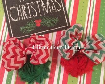 Christmas Ornaments Chevron Bow Hair Clips
