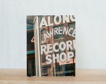 Lawrence Record Shop Photo Art Block, Limited Edition Image Transfer on Wood Panel by Patrick Lajoie, Nashville, music, photography