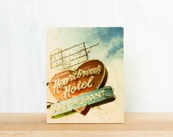 Elvis Sign, 'Heartbreak Hotel', Limited Edition Photo Block, Image Transfer on Wood Panel by Patrick Lajoie, Graceland, vintage signage