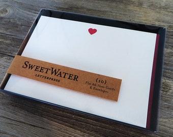 Heart Letterpress Note Cards Set