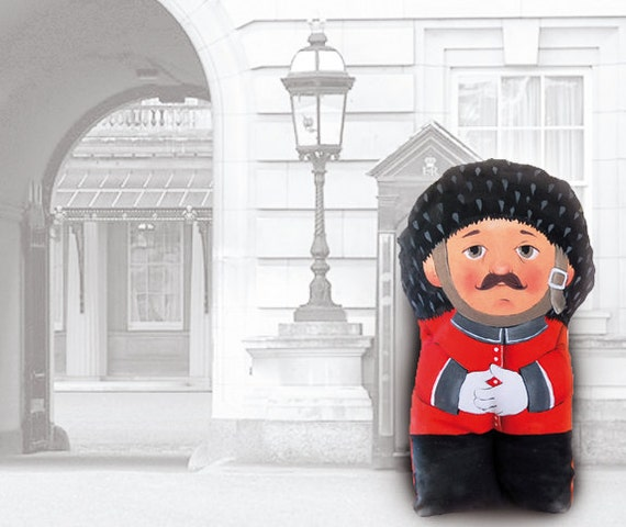 queen's guard, painted art doll - soft sculpture
