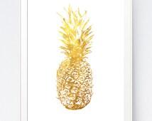 Gold Pineapple, Gold Pineapple Print, Home Decor Pineapple, Gold Wall Art, Gold Summer Printable, Pineapple Art, Gold Wall, INSTANT DOWNLOAD