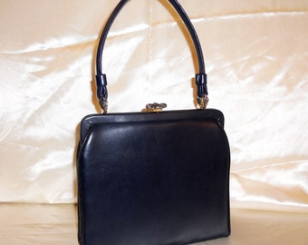 Vintage Navy Blue Leather Frame Handbag Purse