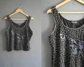 80s Silk Beaded Vest Top