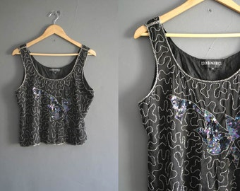 80s Silk Beaded Vest Top