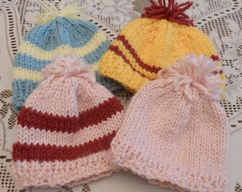 "Knit Beanies/Hats Handmade for an 18"" Doll including American Girl"