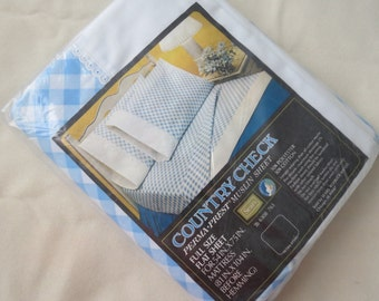 Vintage Sheet - Blue Country Check - Full or Double Flat - BRAND NEW in package