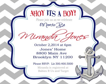 Ahoy it's a Boy Invitation- Gray Chevron Ahoy its a Boy Baby Shower Invitation-Printable Nautical Invitation-Anchor Invite-Ahoy Invite