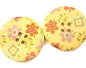 Sprinkle of Flowers 30mm Painted Wooden Craft Buttons 4 hole 5 Pack