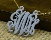 Personalized Monogram Necklace, Custom Acrylic Monogram Necklace