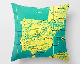 Spain Map Pillow, Spain Pillow Cover 18x18 Spain Gift,  Bilbao Madrid Map Decor Lisbon Travel Gift, Wanderlust Pillow Guy Gift Gifts for Him