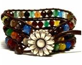 Leather Wrap Bracelet - Mixed Agate Quartz Crystals - Brown Leather - Artisan Boho Chic