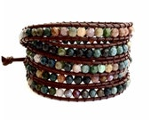 Leather Wrap Bracelet - Fancy Jasper semi-precious Faceted Stones, Brown Leather - Artisan Boho Chic
