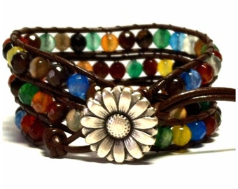Leather Wrap Bracelet - Mixed Agate Quartz Crystals - Brown Leather - Artisan Boho Chic