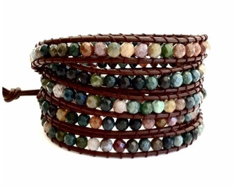 Leather Wrap Bracelet - Fancy Jasper semi-precious Faceted Stones, Brown Leather - Artisan Boho Chic