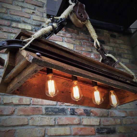 Industrial Light Rustic Chandelier Lighting Steampunk Pulley