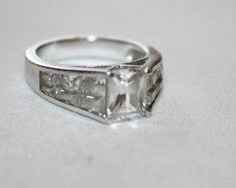 Vintage Sterling Ring, CZ Cocktail Ring, Engagement Promise Ring, 1980s  Jewelry