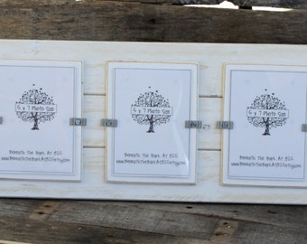 Picture Frame - Distressed Wood - Holds 3 - 5x7 Photos - White with White Mats