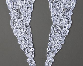 1 Pair of Vintage Lace Appliqués. White Satin Tone. Design of Flowers and Swirls. Lace Embellishments, Wedding, Garment Design. Item 1974A