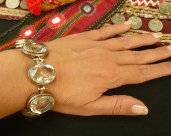 Gorgeous Large Crystal and Sterling Silver Bracelet. Ethnic Gemstone Jewelry