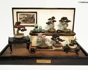 Bonsai Trees set, Vintage miniature Dollhouse 1/12 (BMS12)