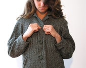 Vintage KENNIE ORIGINALS Wool Button-Up Jacket / Green Black White / Winter Wear / La Rose Shop