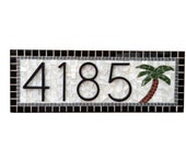 Address Sign with Palm Tree, Custom Mosaic House Number Plaque
