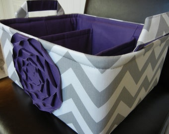 """LG Diaper Caddy(choose COLORS)12""""x10""""x6"""" Two Dividers-Baby Gift-Fabric Storage Organizer-Chevron-""""Purple  Rose on Grey Zigzag"""""""