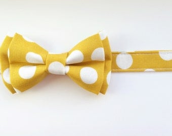 Mustard bow tie, mustard polka dot bow tie, yellow bow tie, yellow polka dot bow tie, newborn bow tie, easter bow tie, wedding bow tie
