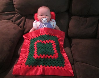 Red and Green Doll Blanket and Pillow Set  /  Doll Blanket  / Security Blanket with Satin