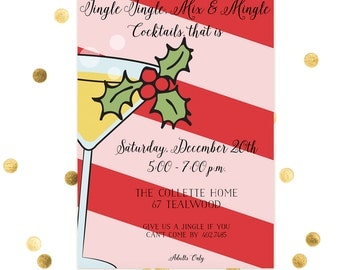Jingle Jingle Mix and Mingle - Christmas Party - Holiday Card - Corporate - Work Christmas Card
